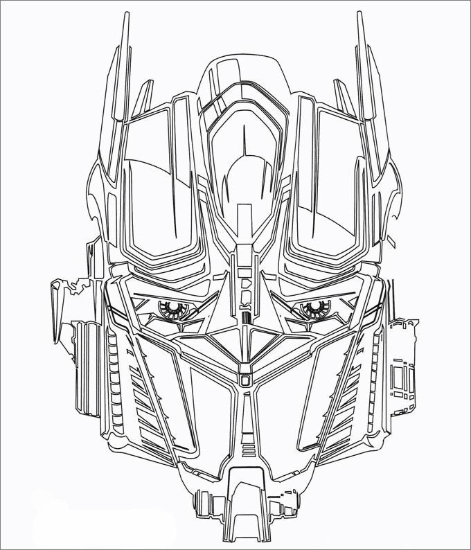 Раскраска «Трансформер» Голова Оптимуса, чтобы распечатать