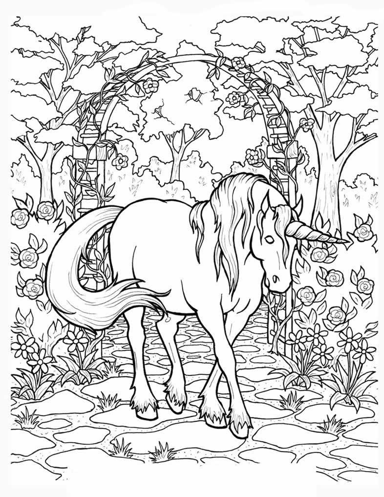 Единорог в полный рост - Единороги - Раскраски антистресс