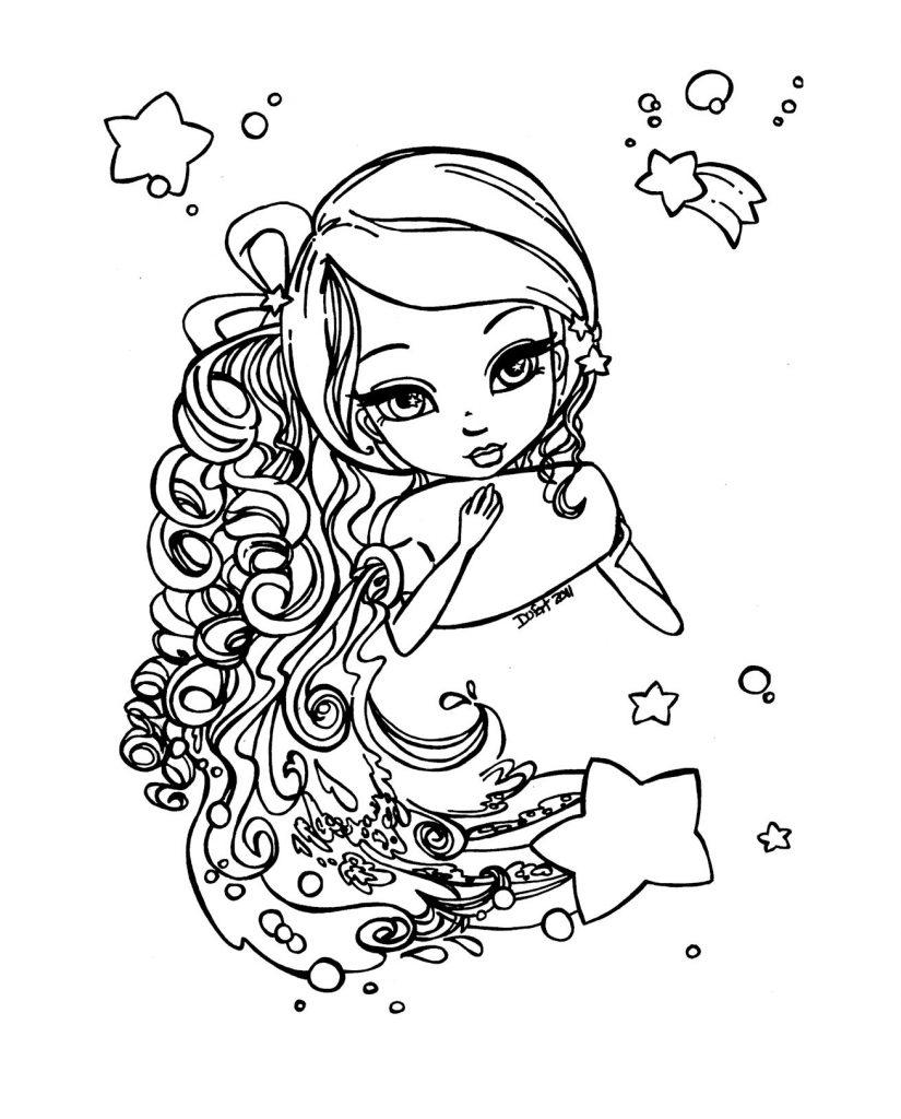Раскраска Знак Зодиака Водолей, чтобы распечатать