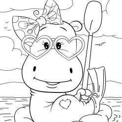 Раскраски малашки «Бегемотик отдыхает», чтобы бесплатно распечатать