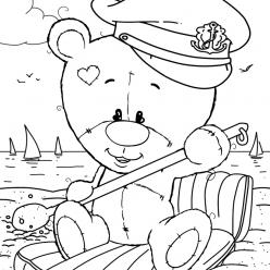 Раскраски малашки «Мишка Тедди моряк», чтобы бесплатно распечатать
