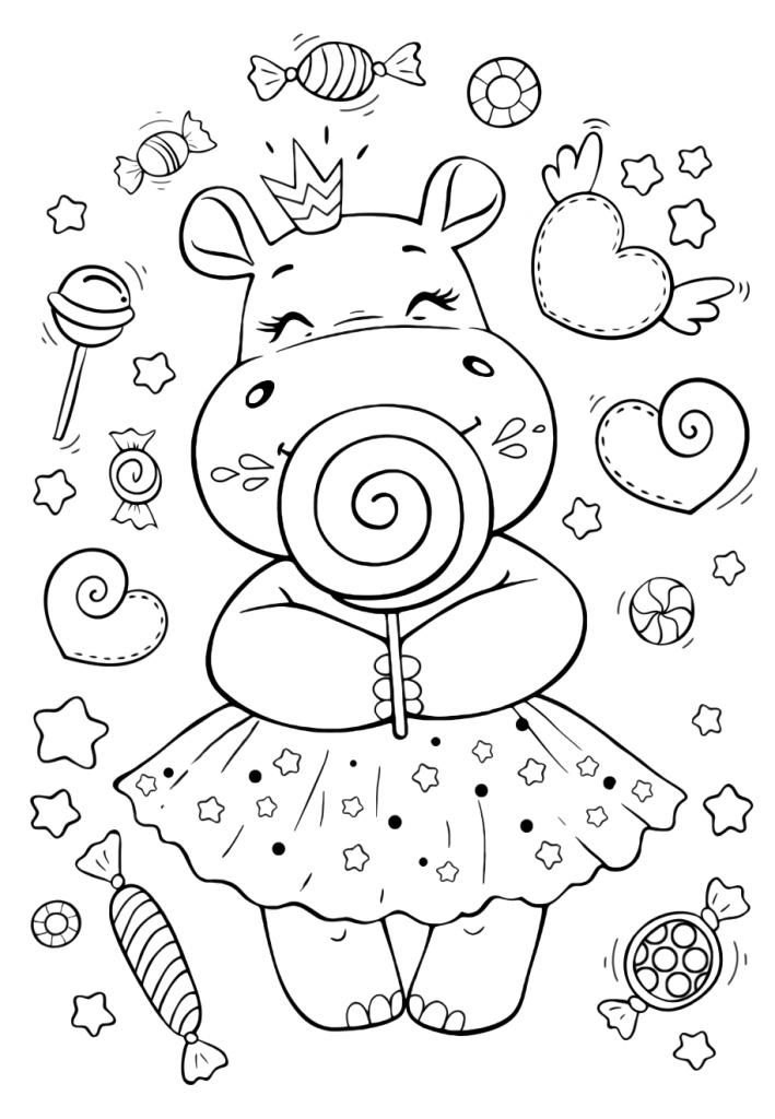 Раскраски малашки «Бегемотик с вкусняшками», чтобы бесплатно распечатать