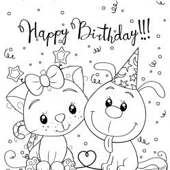 Раскраски малашки «Happy birthday», чтобы бесплатно распечатать