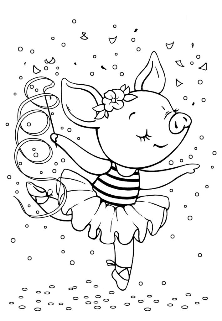 Раскраски малашки «Свинка балерина», чтобы бесплатно распечатать