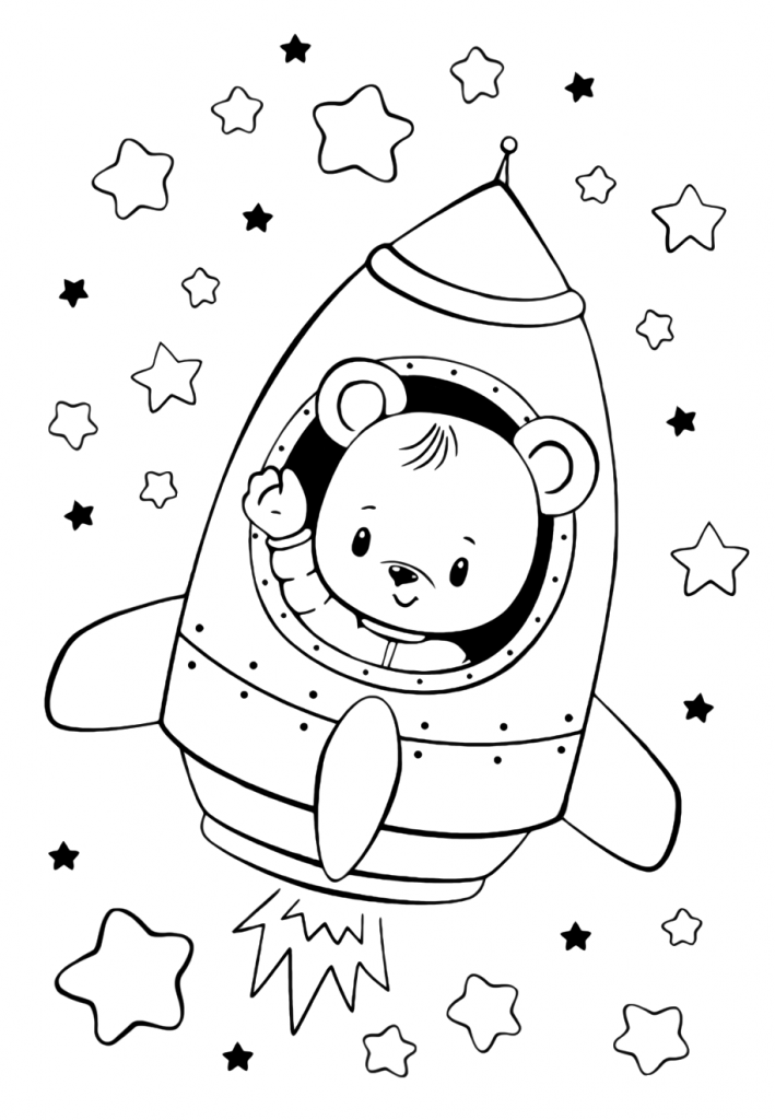 Раскраски малашки «Мишка в ракете», чтобы бесплатно распечатать