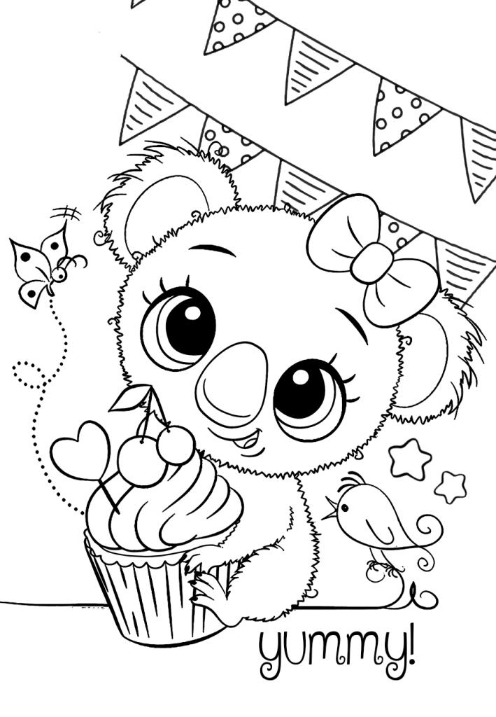 Раскраски малашки «День рождения», чтобы бесплатно распечатать