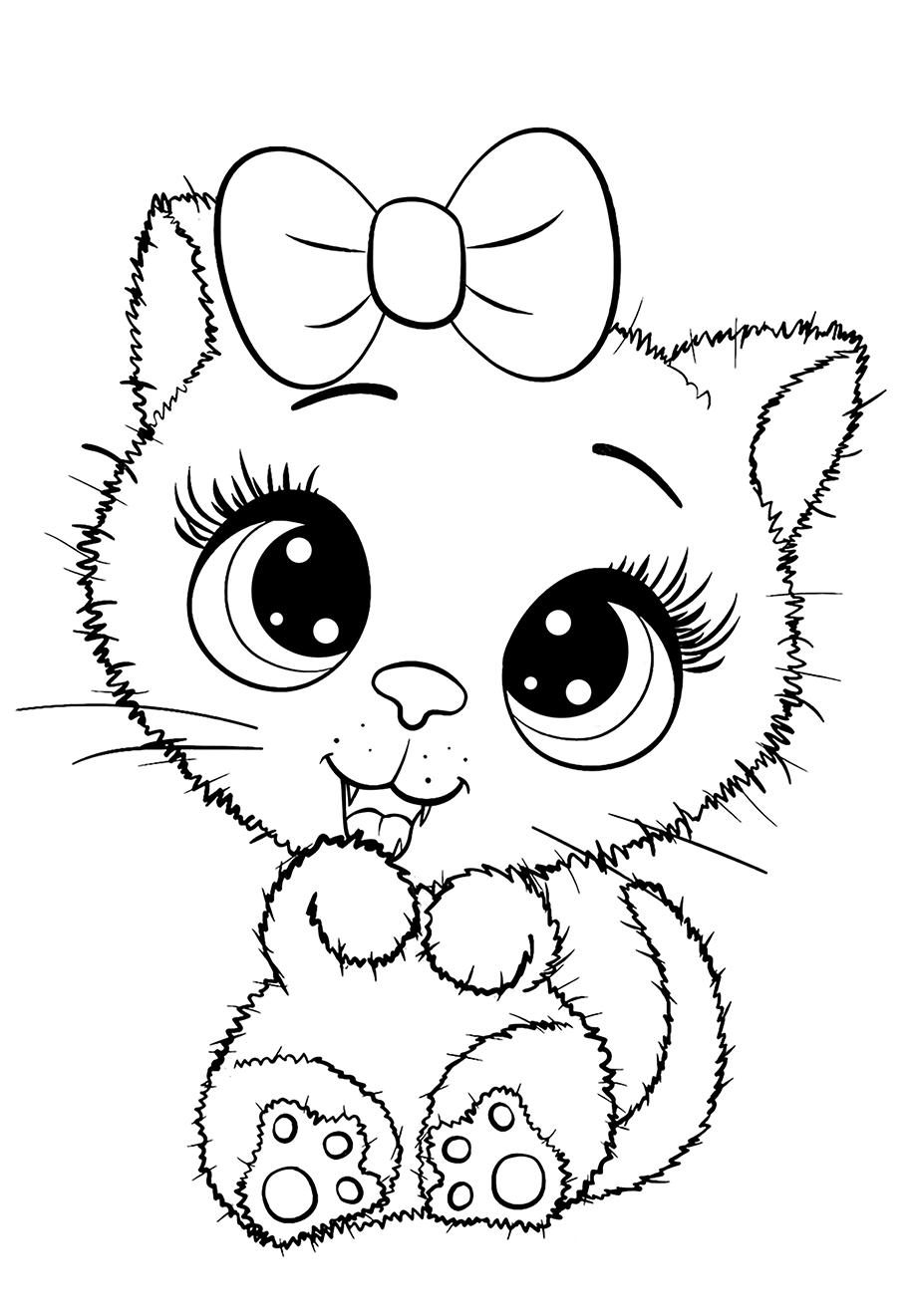 Кошечка - Милашки - Раскраски антистресс