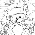 Раскраски малашки «Тедди водолаз», чтобы бесплатно распечатать