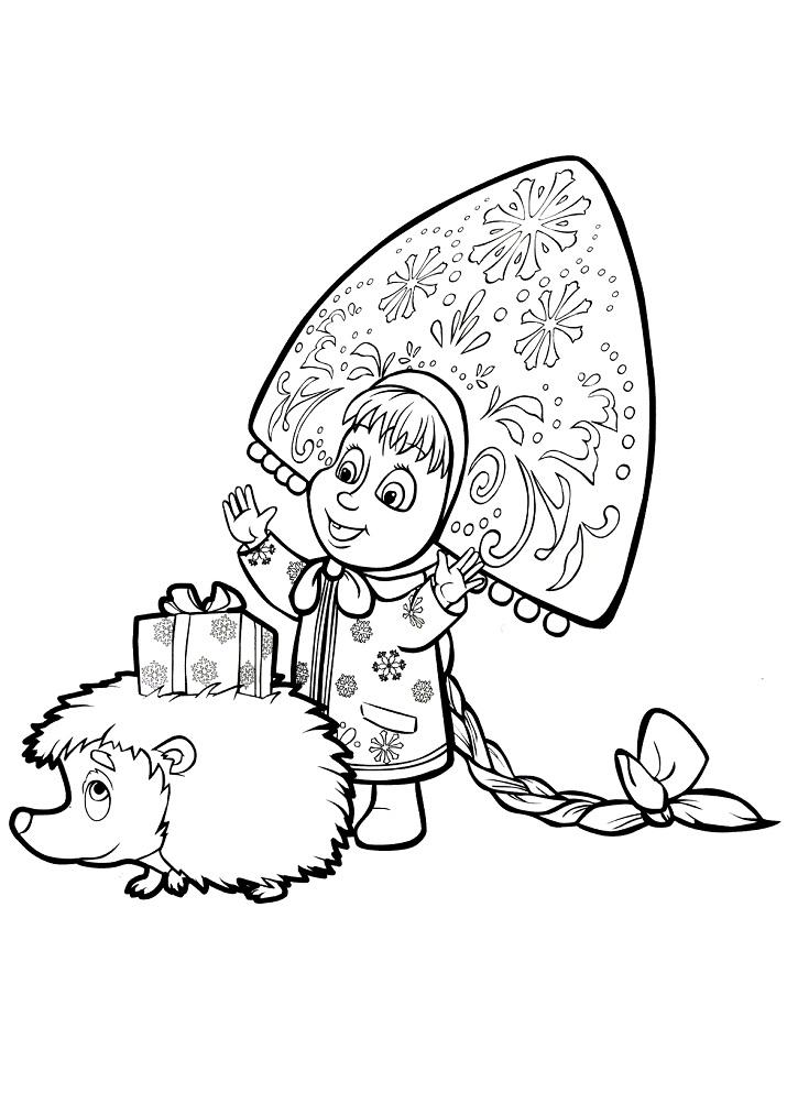 Раскраска из мультфильма «Маша и Медведь» Маша Снегурочка, чтобы распечатать