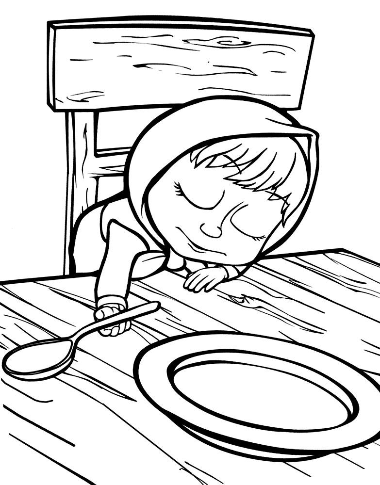 Раскраска из мультфильма «Маша и Медведь» Маша и Каша, чтобы распечатать