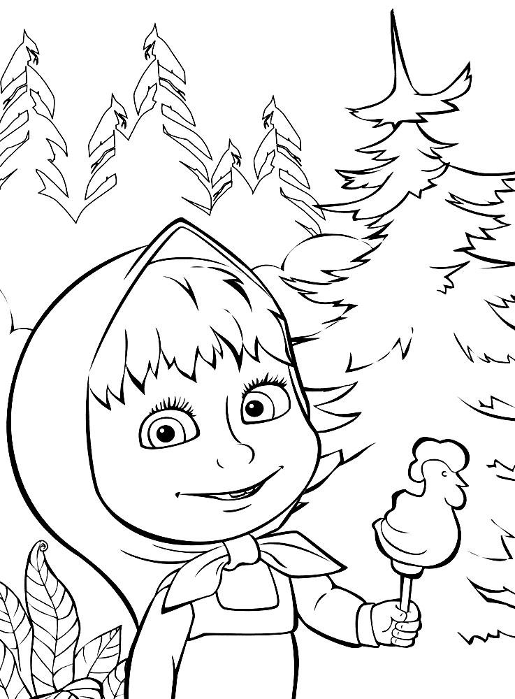 Раскраска из мультфильма «Маша и Медведь» Сладкая жизнь, чтобы распечатать