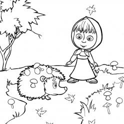 Раскраска из мультфильма «Маша и Медведь» Маша с ежиком, чтобы распечатать
