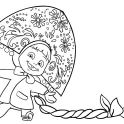 Раскраска из мультфильма «Маша и Медведь» Новогодний концерт, чтобы распечатать