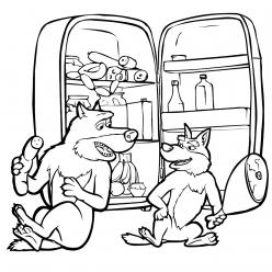 Раскраска из мультфильма «Маша и Медведь» Волки, чтобы распечатать