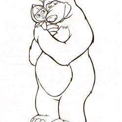 Раскраска из мультфильма «Маша и Медведь» Верные друзья, чтобы распечатать