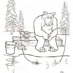 Раскраска из мультфильма «Маша и Медведь» на рыбалке, чтобы распечатать