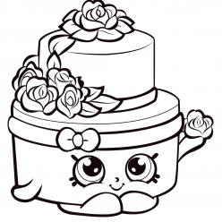 Раскраска для девочек «Шопкинс Торт», чтобы распечатать