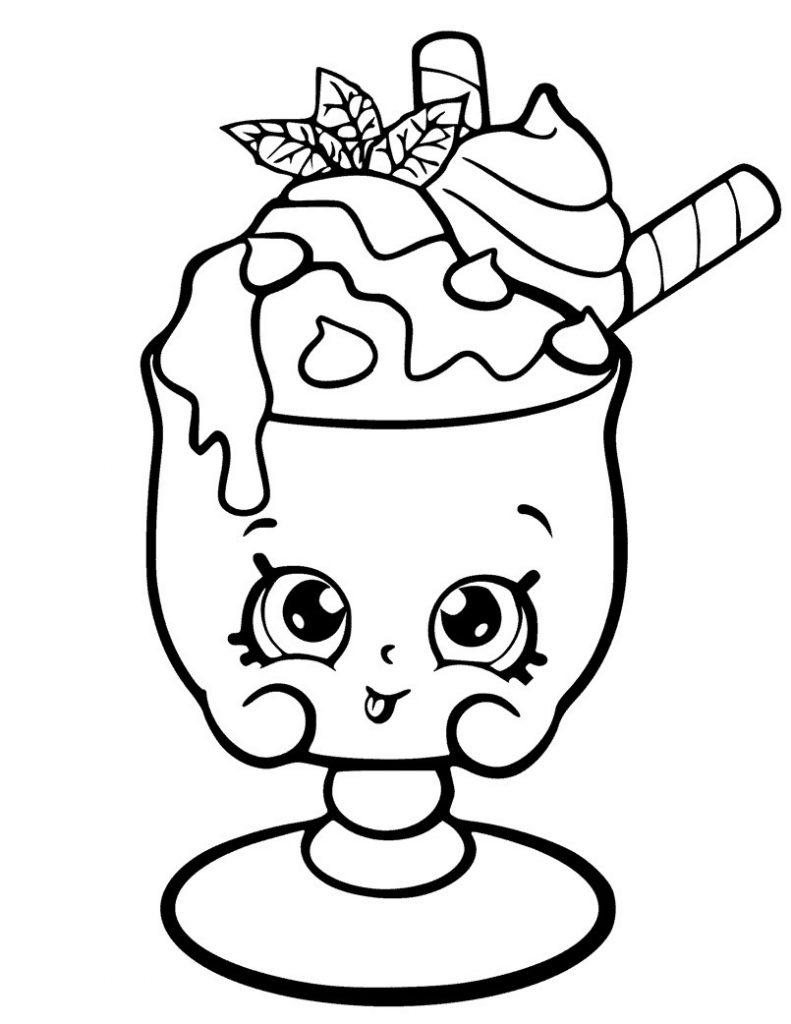 Раскраска для девочек «Шопкинс Мороженое», чтобы распечатать