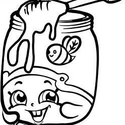 Раскраска для девочек «Шопкинс Баночка с медом», чтобы распечатать