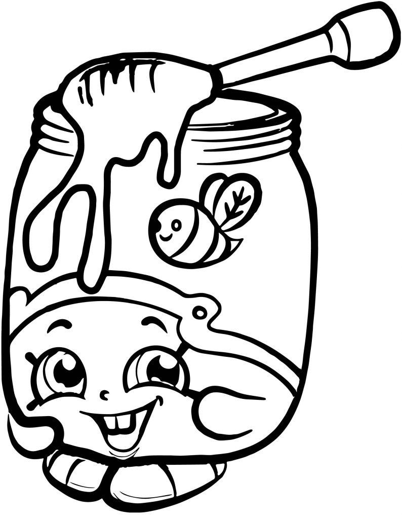 Шопкинс Баночка с медом - Шопкинсы - Раскраски антистресс