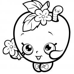 Раскраска для девочек «Шопкинс Яблоко», чтобы распечатать