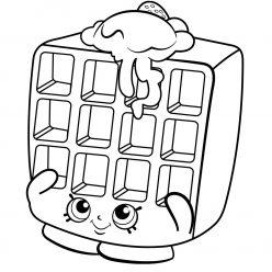 Раскраска для девочек «Шопкинс Венская вафля», чтобы распечатать