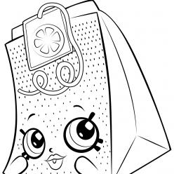 Раскраска для девочек «Шопкинс Пакетик чая», чтобы распечатать