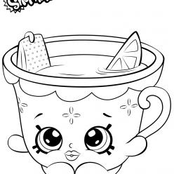 Раскраска для девочек «Шопкинс Чашка», чтобы распечатать