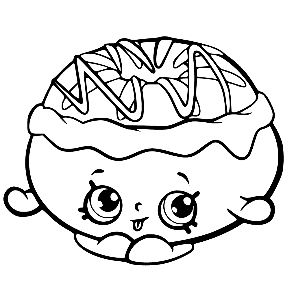 Раскраска для девочек «Шопкинс Пончик», чтобы распечатать
