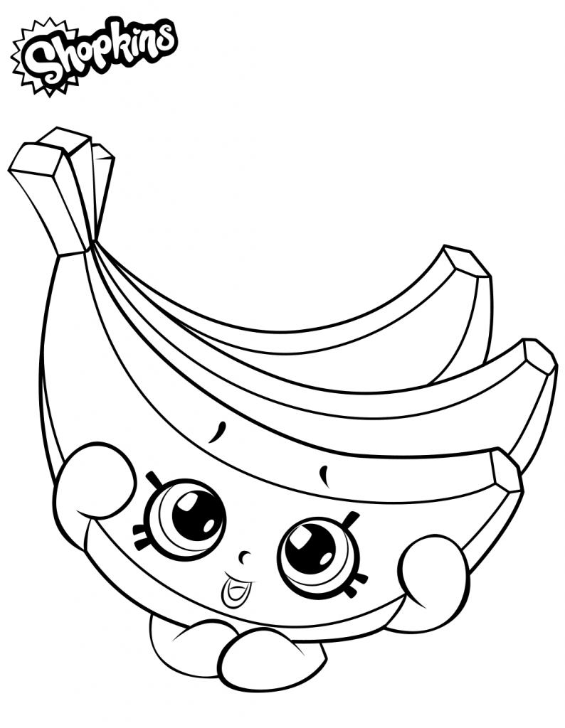 Раскраска для девочек «Шопкинс Бананы», чтобы распечатать