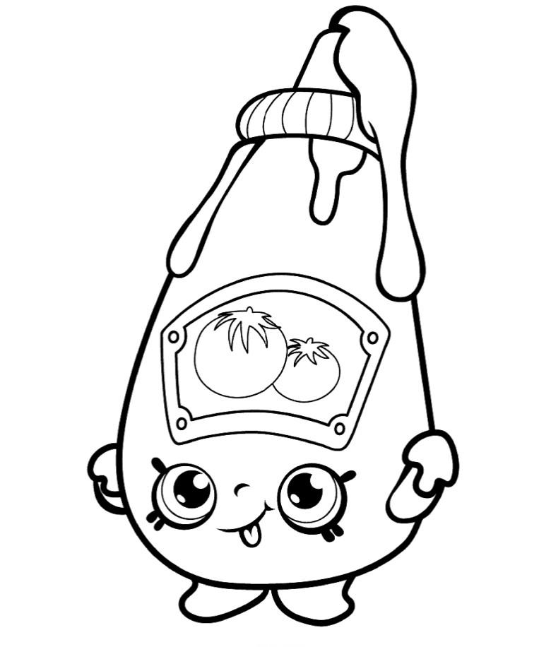 Раскраска для девочек «Шопкинс Кетчуп», чтобы распечатать