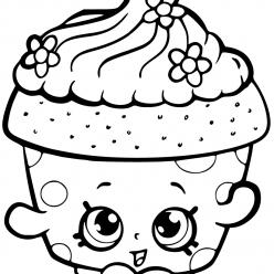 Раскраска для девочек «Шопкинс Капкейк», чтобы распечатать