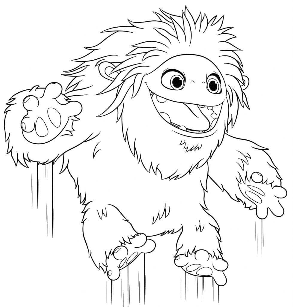 Раскраски мультфильм Эверест Йети, чтобы бесплатно распечатать