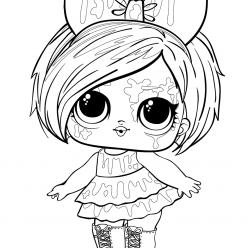 Раскраски Кукла лол с волосами клякса, чтобы распечатать и раскрасить
