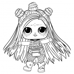 Раскраски Кукла лол с волосами, чтобы распечатать и раскрасить
