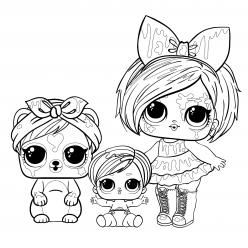 Раскраски Кукла ЛОЛ Клякса с волосами с питомцем и сестричкой, чтобы распечатать