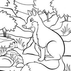 Раскраски животных для детей «Лиса и птичка», чтобы распечатать и раскрасить