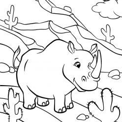 Раскраски животных для детей «Носорог», чтобы распечатать и раскрасить