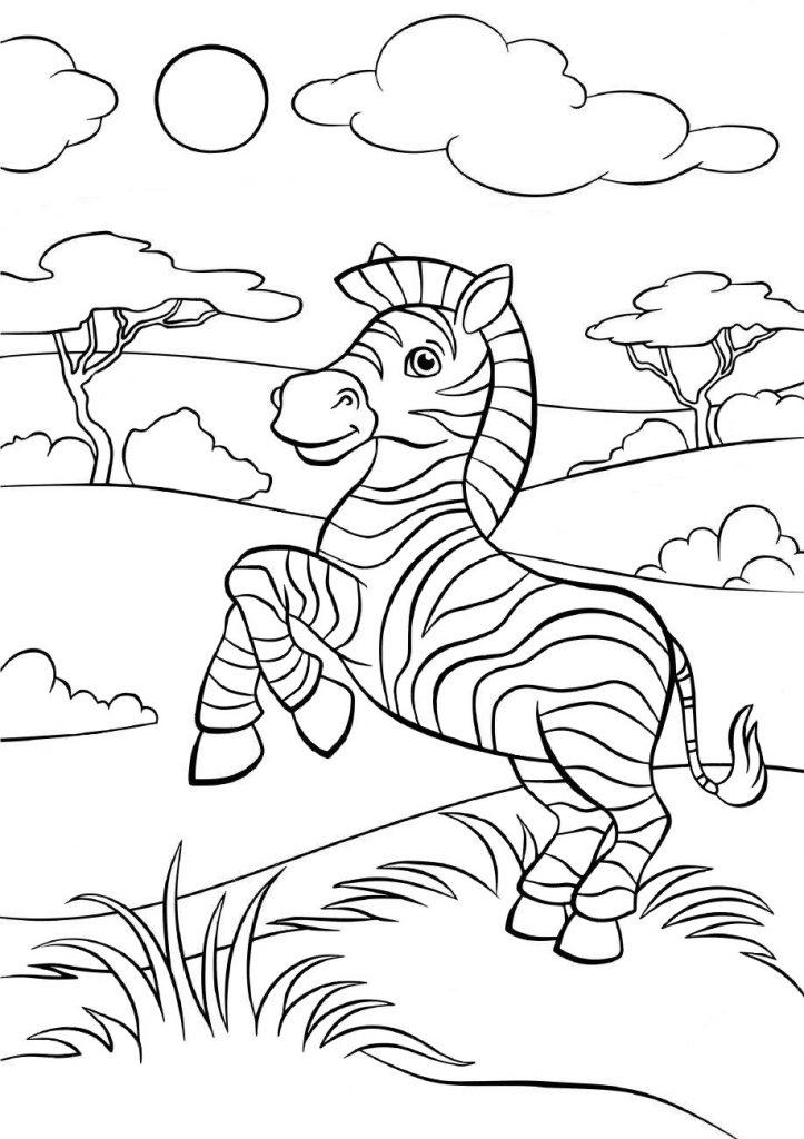 Раскраски животных для детей «Зебра», чтобы распечатать и раскрасить