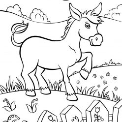 Раскраски животных для детей «Ослик», чтобы распечатать и раскрасить