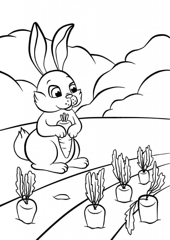 Раскраски животных для детей «Зайчик с морковкой», чтобы распечатать и раскрасить