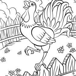 Раскраски животных для детей «Петушок», чтобы распечатать и раскрасить