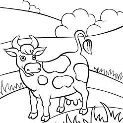 Раскраски животных для детей «Корова», чтобы распечатать