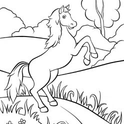 Раскраски животных для детей «Лошадь», чтобы распечатать и раскрасить