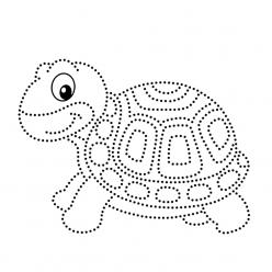 Раскраска развитие моторики черепаха «рисуем по точкам», чтобы распечатать в хорошем качестве
