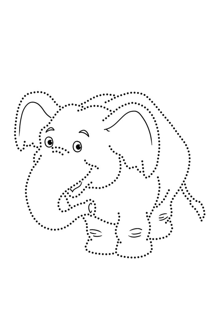 Раскраска развитие моторики слон «рисуем по точкам», чтобы распечатать