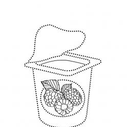 Раскраска развитие моторики Йогурт по точкам «рисуем по точкам», чтобы распечатать в хорошем качестве