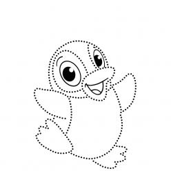 Раскраска развитие моторики пингвин «по точкам», чтобы распечатать в хорошем качестве