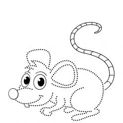 Раскраска развитие моторики мышка по точкам, чтобы распечатать
