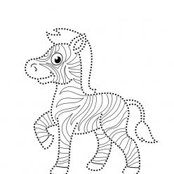 Раскраска развитие моторики зебра по точкам, чтобы распечатать в хорошем качестве